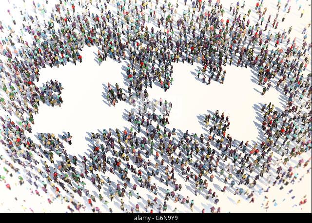 Große Gruppe von Menschen bilden ein Puzzle-Symbol - 3D-Illustration Stockbild