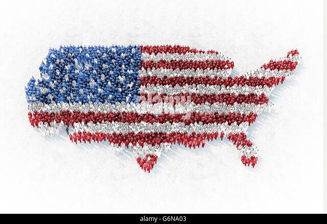 Die Gliederung der USA von Menschen gebildet gekleidet in rot, blau und weiß - 3D-Illustration Stockbild