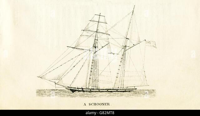 Hier abgebildet ist ein Schoner. Die Abbildung stammt aus den 1800er Jahren. Stockbild