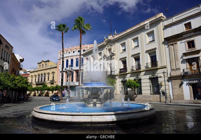 Brunnen, Calle Larga, Jerez De La Frontera, Andalusien, Spanien Stockbild