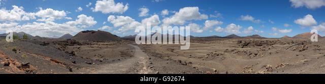 Pfad zu den Vulkanen Lanzarote Kanarische Inseln Stockbild