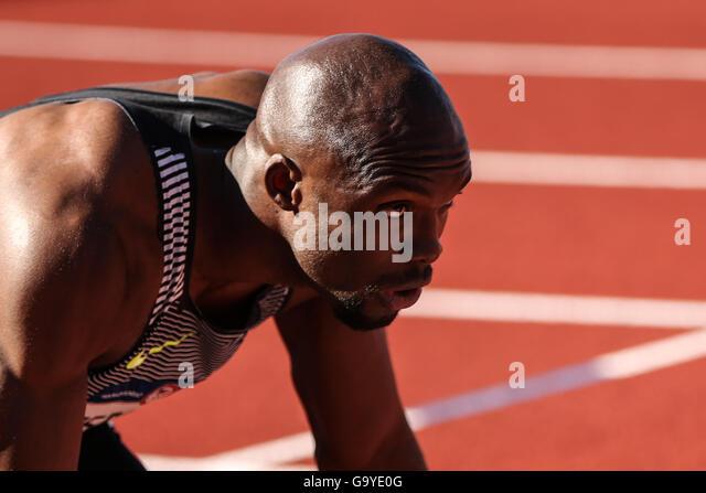 1. Juli 2016 - sitzt LASHAWN MERRITT in die starren Blöcke während der 400 m-Vorläufe bei den USA Stockbild