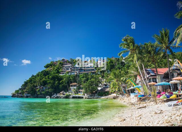 exotische Diniwid Strand-resorts in tropischen Paradies Boracay Philippinen Stockbild