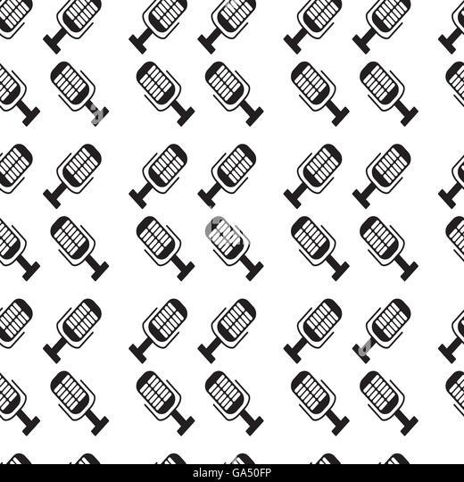 Monochromes Muster Mikrofon. Musik Karaoke und Wiederholung mic für Radio, Vektor-illustration Stockbild