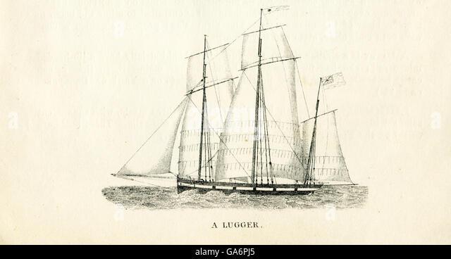 Das hier abgebildete Schiff ist ein Lugger. Die Abbildung stammt aus den 1800er Jahren. Stockbild