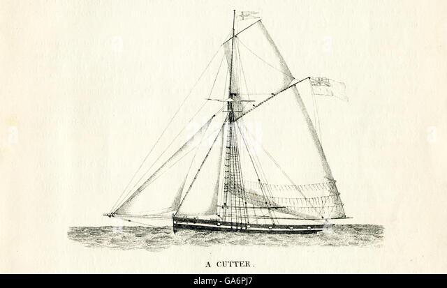 Das hier abgebildete Schiff ist ein Cutter. Die Abbildung stammt aus den 1800er Jahren. Stockbild