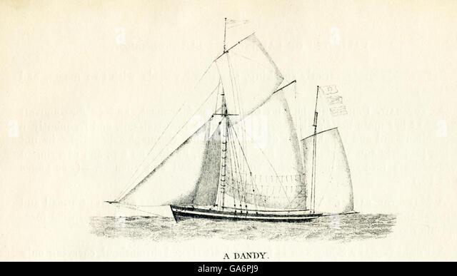 Das hier gezeigte Schiff ist ein Dandy. Die Abbildung stammt aus den 1800er Jahren. Stockbild