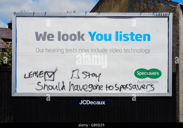 Nach der UK-Abstimmung für die EU in einem Referendum zu verlassen ist Graffiti verwendet, um viele Menschen Stockbild