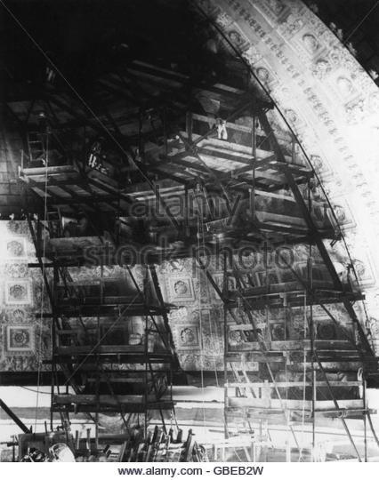 Geographie / Reisen, USA, Washington D.C., Gebäude, s Library of Congress, Innenansicht, Bauarbeiten im Hauptspeisesaal, Stockbild