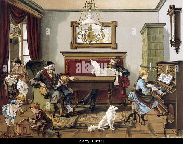 reading newspaper 19th century stockfotos reading newspaper 19th century bilder alamy. Black Bedroom Furniture Sets. Home Design Ideas