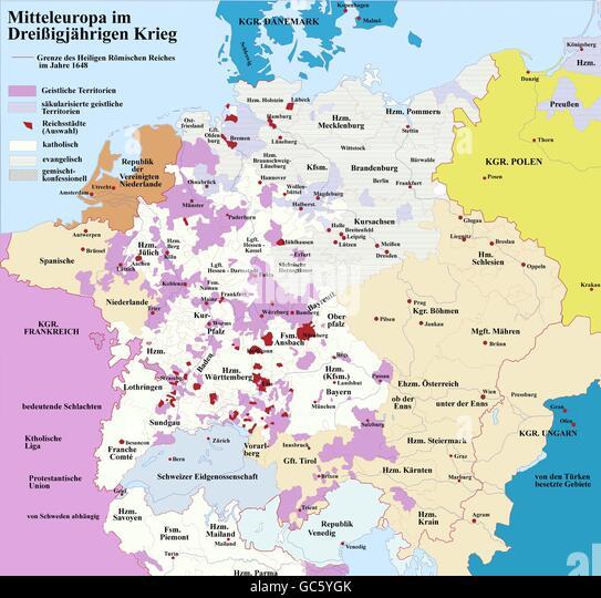 historische Landkarten, Kartographie, Neuzeit, Mitteleuropa und der Dreißigjährigen Krieg 1618 - 1648, Stockbild