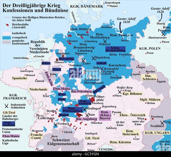 Kartographie, historische Karten, Neuzeit, Dreißigjährigen Krieg 1618-1648, Geständnisse und Allianzen, Stockbild