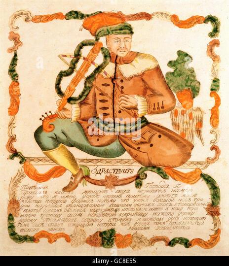 Geographie / Reisen, Russland, Folklore, der Narr Farnos spielt Violine, Kupferstich, 1. Viertel 19. Jahrhundert, Stockbild