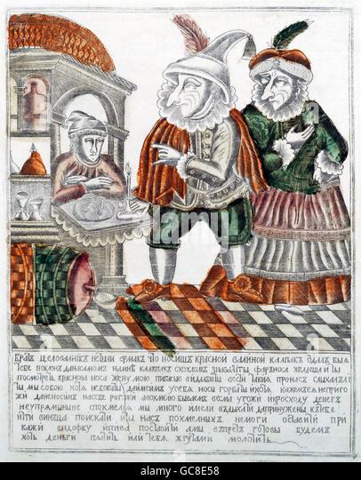 Geographie / Reisen, Russland, Folklore, der Narr Farnos Rednose und seine Frau Pigasya mit dem Wirt Yermak, Kupferstich, Stockbild