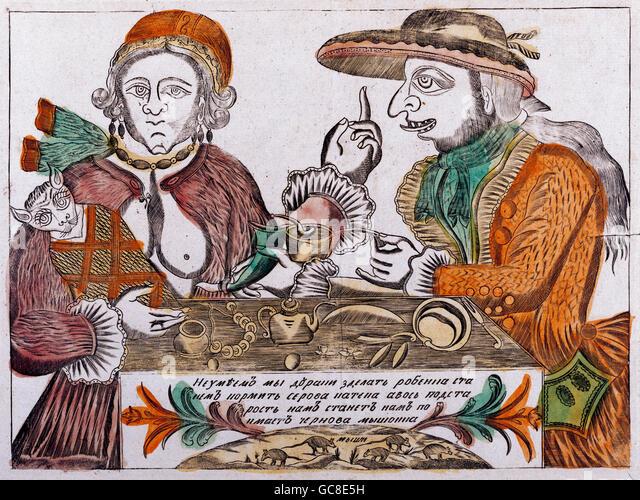 Geographie / Reisen, Russland, Folklore, der Narr Farnos Rednose und seine Frau Pigasya Wieghing ihre Kätzchen, Stockbild
