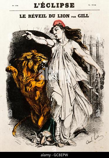 "Karikatur, politische Satire, ""Le Geheimis du Lion"", Abdeckung des L'Eclipse von André Gill, Stockbild"