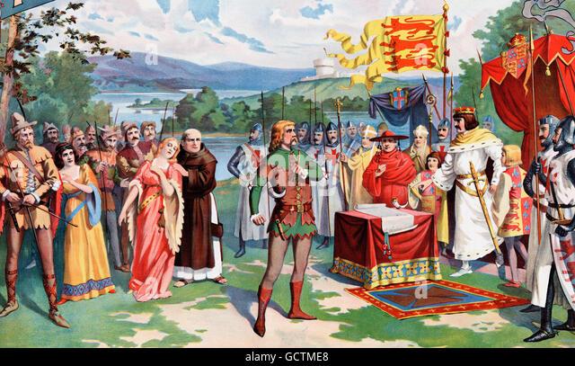 Robin Hood, König Johann trotzt. Ein 1895 Illustration von William Greer Harrison für eine theatralische Stockbild