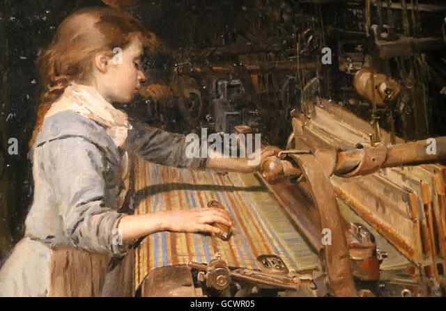 Die Mädchen arbeiten von Joan Planella, 1885. Museum der Geschichte von Katalonien, Barcelona. Spanien. Stockbild