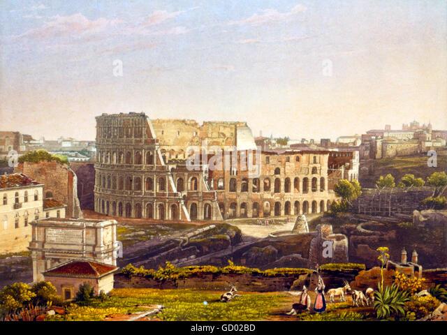 Kolosseum, Rom. 19. Jahrhundert-Blick auf das Kolosseum in Rom. Radierung mit Aquatinta von einem Daguerrotype von Stockbild