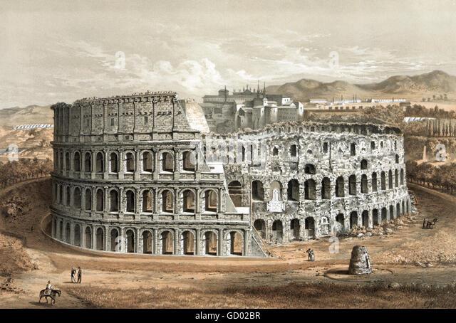 """Colossseum im Rome.19th Jahrhundert Darstellung, die """"ursprüngliche Struktur und verschlechtertem Zustand"""". Stockbild"""