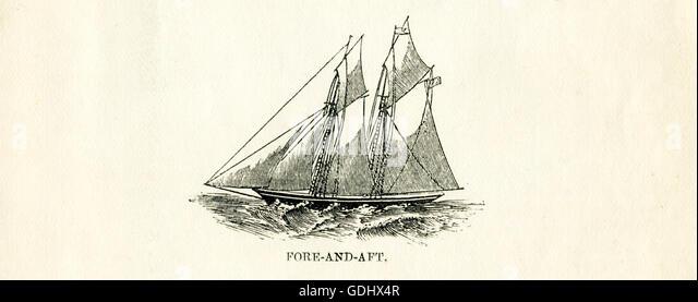 Das Schiff in dieser Zeichnung aus dem 19. Jahrhundert abgebildet ist ein Schoner, speziell einen vielbetretenen. Stockbild