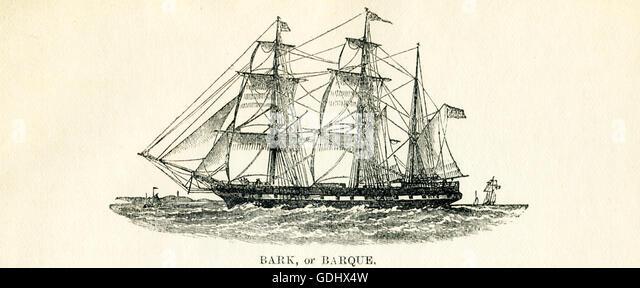 Das Schiff in dieser Zeichnung aus dem 19. Jahrhundert abgebildet ist eine Rinde (auch buchstabiert Bark). Stockbild