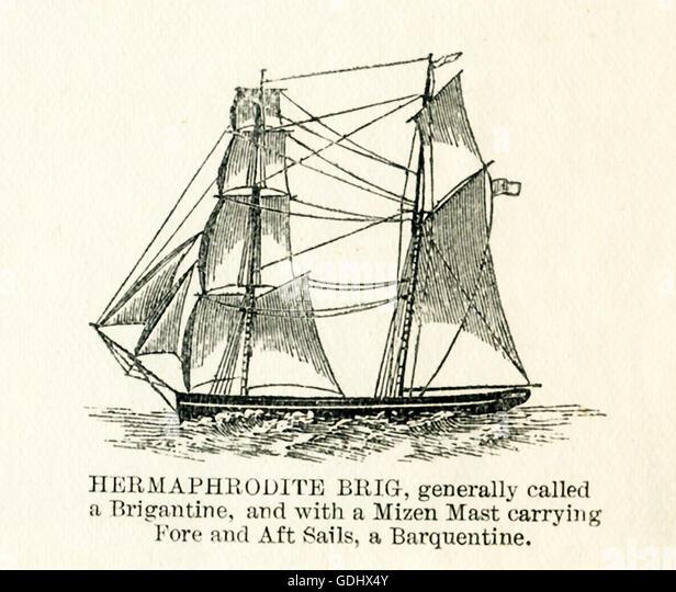Das Schiff in dieser Zeichnung aus dem 19. Jahrhundert abgebildet ist ein Zwitter-Brig. Stockbild