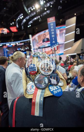Cleveland, Ohio, USA. 19. Juli 2016. GOP-Delegierten während des zweiten Tages der Republican National Convention Stockbild