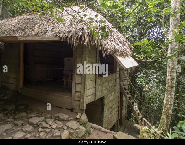 Casa de Fidel Castro, Rebel's Camp auf 1958, als comandancia de la Plata, Bergen der Sierra Maestra, Kubas bekannt Stockbild