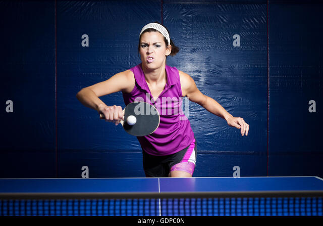 Tischtennis-Spieler training Stockbild