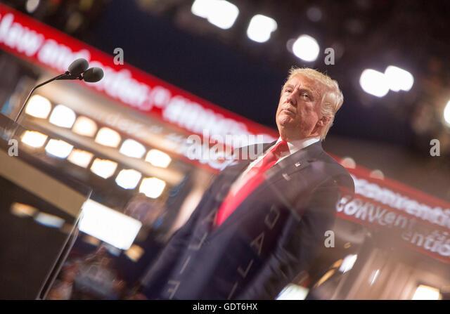 Cleveland, Ohio, USA; 21. Juli 2016: Trump akzeptiert seine Nominierung für den Präsidenten bei der Republican Stockbild