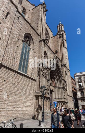 Basílica de Santa María del Mar, Barcelona, Katalonien, Spanien. Stockbild