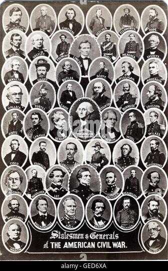 Staatsmänner & Generäle des amerikanischen Bürgerkrieges, ca. 1864 von Ashford, Brüder & Stockbild
