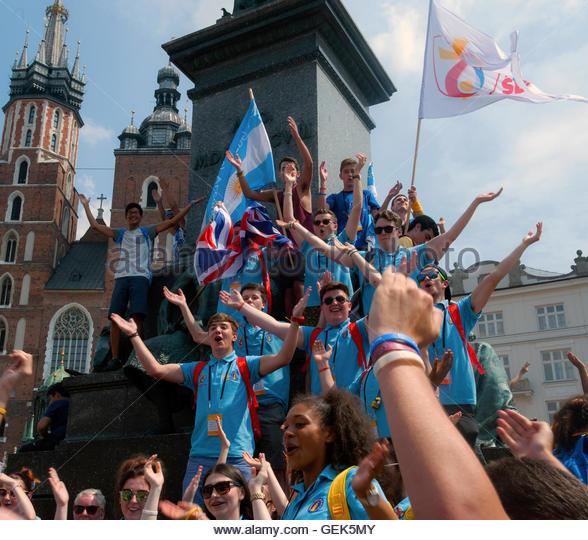 Krakau, Polen. 26. Juli 2016. Junge Katholiken aus der ganzen Welt sind diese Woche auf der südlichen polnischen Stockbild