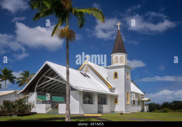 Sacred Heart Catholic Church, Hawaiis Big Island Stockbild