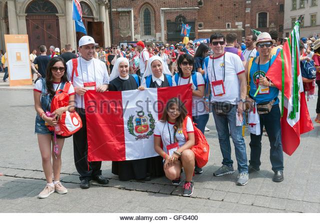 Krakau Polen 26. Juli 2016. Junge Katholiken aus der ganzen Welt sind diese Woche auf der südlichen polnischen Stockbild