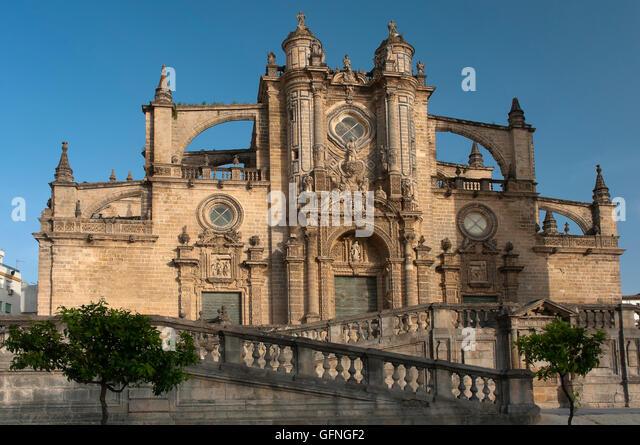 Kathedrale von San Salvador - 17. Jahrhundert, Jerez De La Frontera, Cadiz Provincia, Region von Andalusien, Spanien, Stockbild