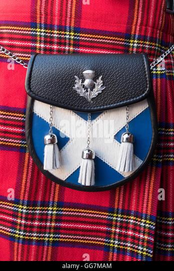 Nahaufnahme eines traditionellen schottischen Tartan Kilt und sporran Stockbild