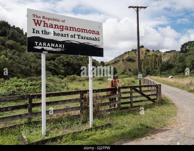 Gemeinde melden Whangamomona Taranaki, Nordinsel, Neuseeland. Stockbild