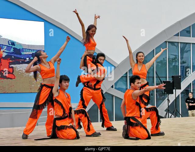 Die chinesischen Volkstanz während der Olympischen Spiele in Peking 2008 auf Aug.10 in China. Stockbild