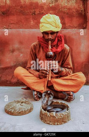 Snake Charmer mit Cobra, (Naja Naja), Rajasthan, Indien Stockbild