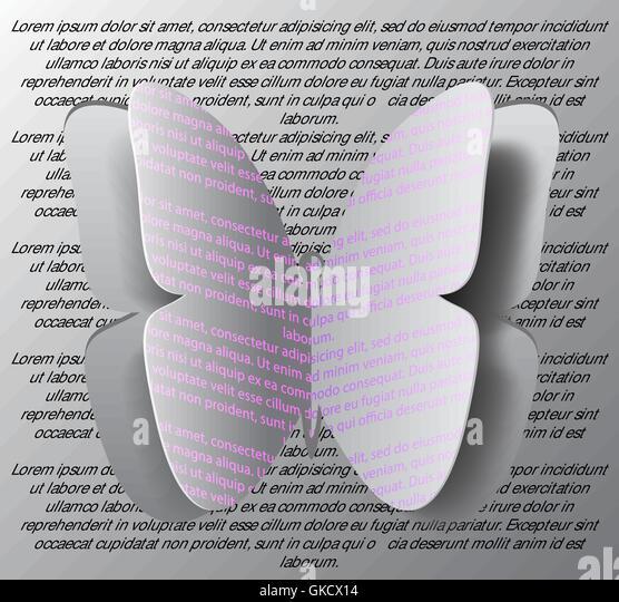 Konzept der Origami Schmetterling schneiden Sie das Papier, abstrakte Zeitmessung Stockbild