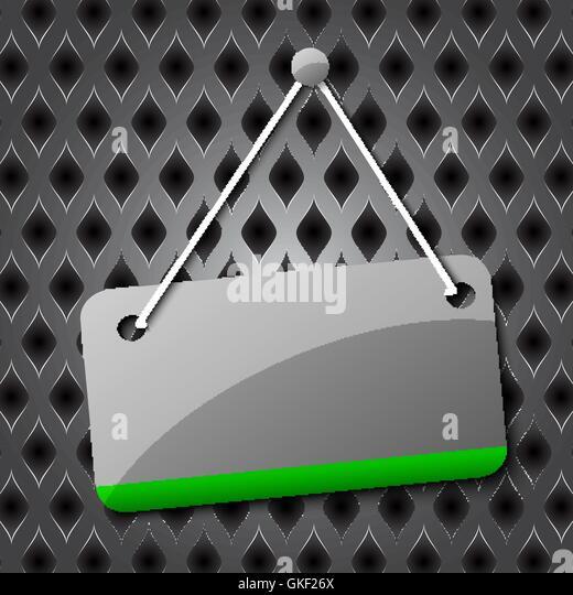 Leere hängende Zeichen für Ihren Text auf einem abstrakten Hintergrund. Stockbild