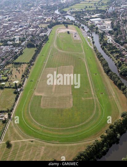 Luftaufnahme von Worcester Rennbahn Pferd-Rennstrecke, UK Stockbild