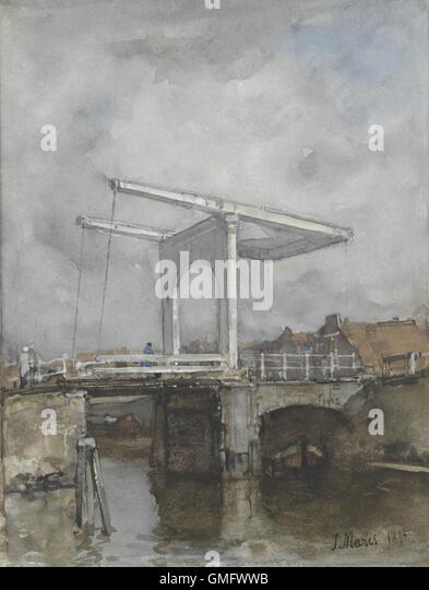 Eine Zugbrücke, Jacob Maris, 1875, niederländische Aquarellmalerei. Maris war ein führendes Mitglied Stockbild