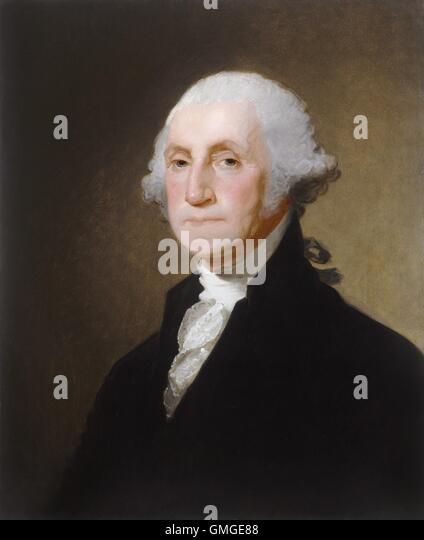 George Washington, von Gilbert Stuart, 1821, amerikanische Malerei, Öl auf Leinwand. Im Jahre 1796 saß Stockbild