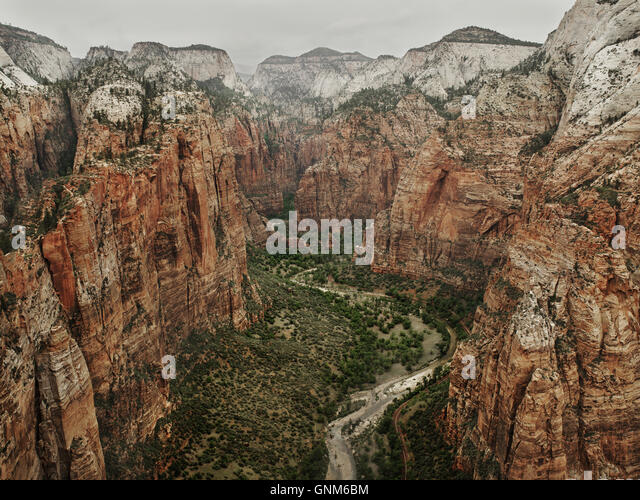 Der Ausblick von der Spitze der Angel es Landing im Zion Nationalpark Stockbild