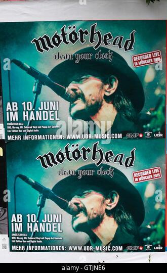 Plakat Mit Werbung Fuer Eine CD von Motörhead Mit Lemmy Kilmister, Berlin. Stockbild