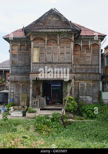Traditionelles altes Haus am Kudeejeen in Bangkok, Thailand Stockbild