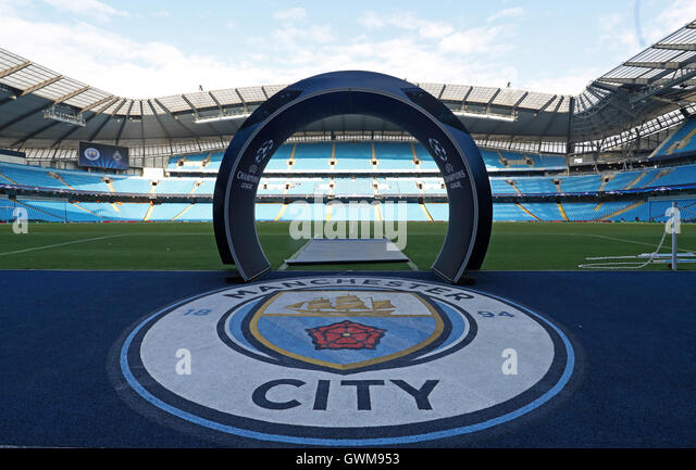 Ein Überblick über die Etihad Stadium vor der Champions-League-match zwischen Manchester City und Borussia Stockbild
